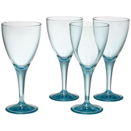 Set of 4 Glacier Blue Wine Goblets