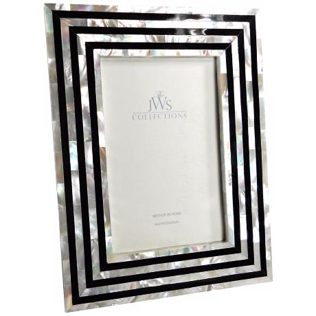 Black and White Art Deco Mother of Pearl 4x6 Picture Frame