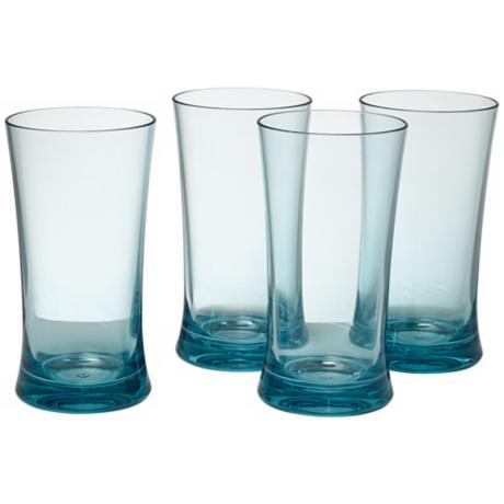 Set of 4 Glacier Blue 17 Oz. Highball Tumblers