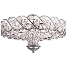"Catara Silver Leaf 6-Light 18"" Wide Crystal Ceiling Light"