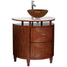 Golden Line Marble and Wood Vanity with Sink