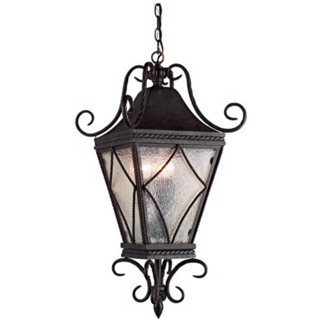 "Mavis Mottled Glass 10 1/2"" Charcoal Outdoor Pendant Light"