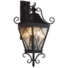 "Mavis Mottled Glass 13"" Wide Charcoal Outdoor Wall Light"