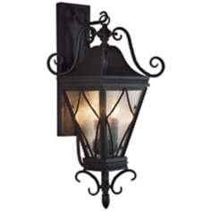 "Mavis Mottled Glass 10 1/2"" Charcoal Outdoor Wall Light"