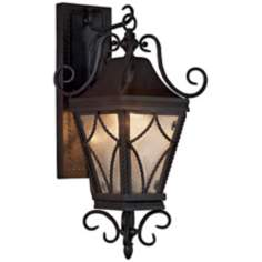 "Mavis Mottled Glass 8"" Wide Charcoal Outdoor Wall Light"