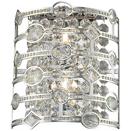 "Mica Collection 15"" High Chrome and Crystal Wall Sconce"