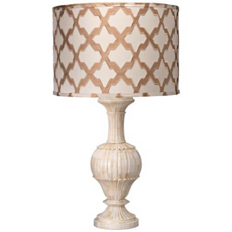 Jamie Young Carved Bone and Taupe Lattice Table Lamp