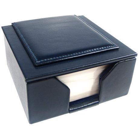 "Blue Leather Memo Box with 3 1/2"" Square Note Pad"