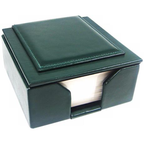 "Green Leather Memo Box with 3 1/2"" Square Note Pad"