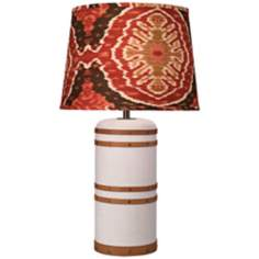 Jamie Young Barrel Ikat and Vintage Canvas Buffet Lamp