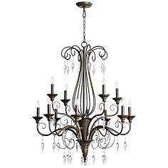 "Quorum Vesta 12-Light 32"" Wide Oiled Bronze Chandelier"