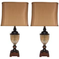 Set of 2 Carmen Amber Glass Table Lamps