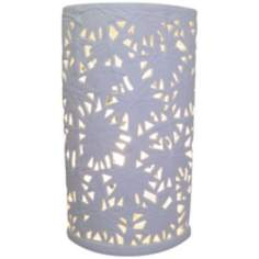 Stella Carved Tropical White Ceramic Accent Uplight