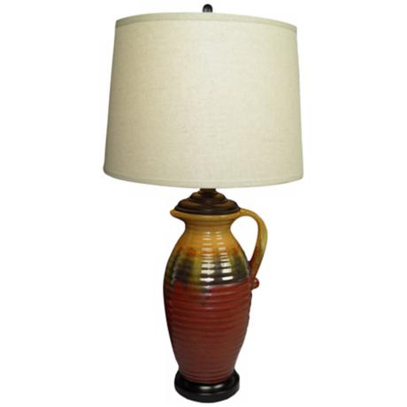 Earth Rustic Burgundy and Mustard Pitcher Ceramic Table Lamp