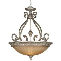 "Kathy Ireland Sterling Estate 27"" Wide Silver Pendant Light"