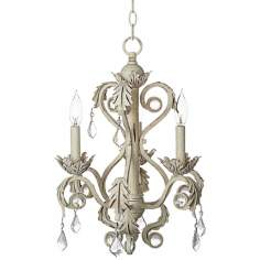 "Kathy Ireland Crystal 15 1/2"" Wide Antique White Chandelier"