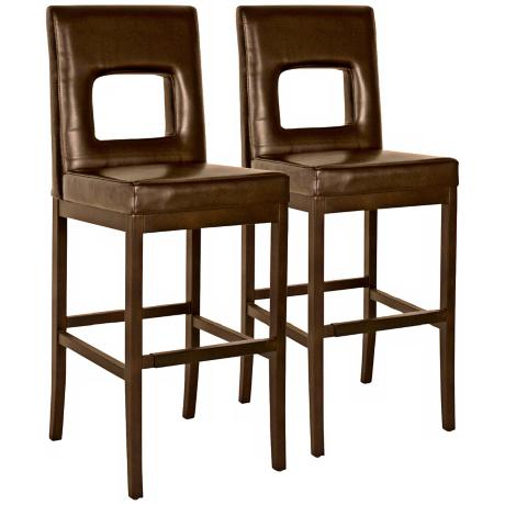 "Window 28 1/2"" High Mocha Bicast Leather Bar Stool"