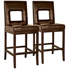 "Window 26"" High Mocha Bicast Leather Counter Stool"