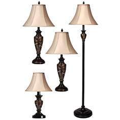 Set of 4 Aged Bronze and Marble Table and Floor Lamps
