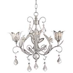 "Crystal Florette 16"" Wide Chrome Chandelier"