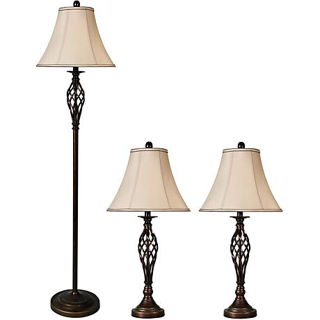 Barclay Bronze Floor and Table Lamps Set of 3