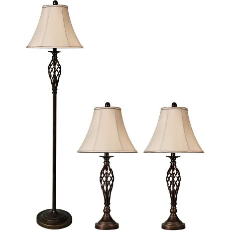 Set of 3 Barclay Brass Table Lamps and Floor Lamp