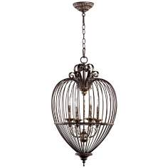 "Quorum Birdcage 4-Light 17"" Wide Oiled Bronze Pendant Light"