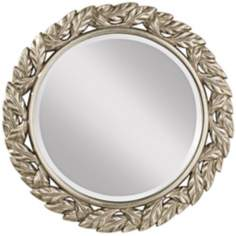 "Murray Feiss Leaves Round 30"" High Framed Wall Mirror"
