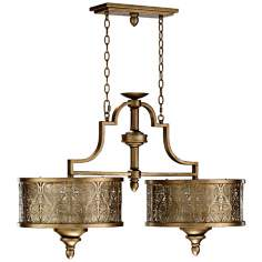 "Quorum French Damask 38"" Vintage Pewter Island Chandelier"