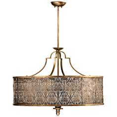 "Quorum French Damask 36"" Wide Vintage Pewter Pendant Light"