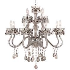 "Smoke Glass 12-Light 31 1/2"" Wide Crystal Chandelier"
