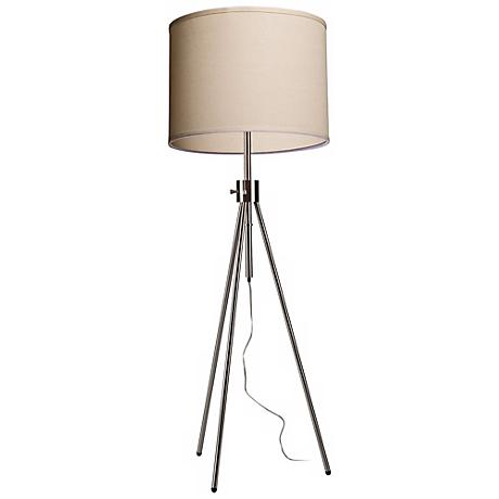 Artcraft Mercer Street Oatmeal and Chrome Floor Lamp