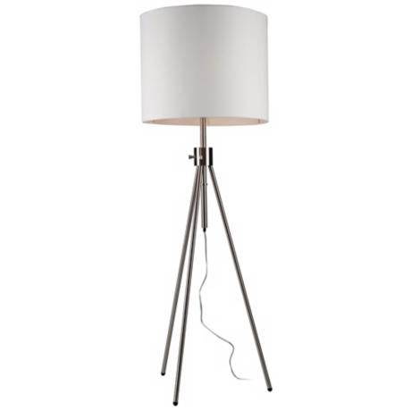 Artcraft Mercer Street Chrome Tripod Floor Lamp White Shade