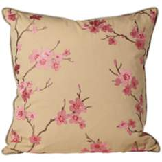 "Cherry Blossoms 20"" Square Pink Throw Pillow"