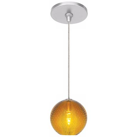 LBL Bullé Amber Nickel Globe Pendant Light