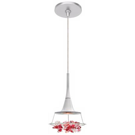 LBL Vision Red Crystal Nickel Pendant Light