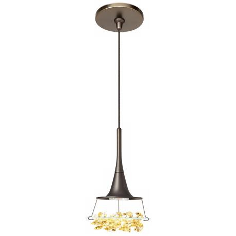 LBL Vision Amber Crystal Bronze Pendant Light