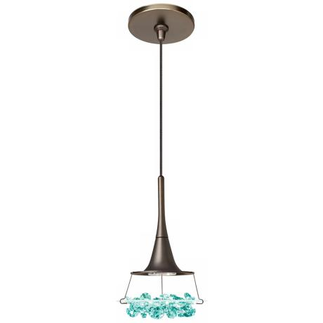 LBL Vision Green Crystal Bronze Pendant Light
