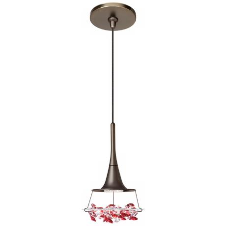 LBL Vision Red Crystal Bronze Pendant Light