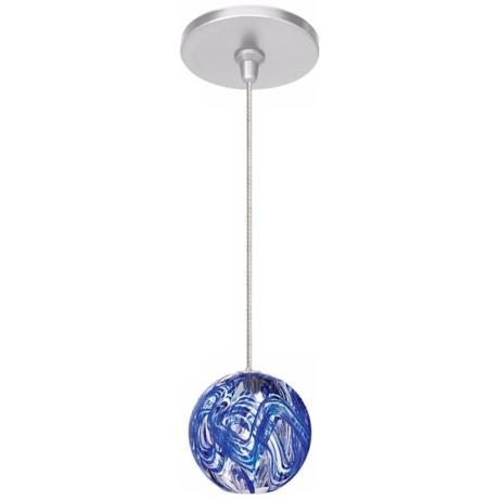 LBL Paperweight Blue Sphere Nickel Pendant Light