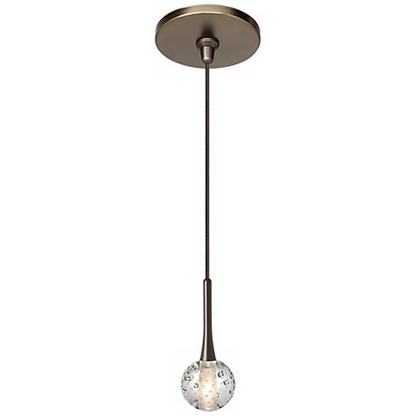 "LBL Crystal Ball 2"" Wide Clear Bronze Mini Pendant"