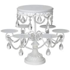 Crystal Dangle White Cake and Cupcake Stand