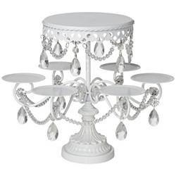 "Elise White and Crystal 12"" High Cake and Cupcake Stand"