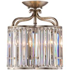 "Soft Silver 4-Light 13"" Wide Crystal Ceiling Light"