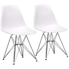 Set of 2 Modern White Plastic Side Chairs
