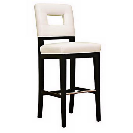 "Faustino 30"" White Bycast Leather Bar Stool"