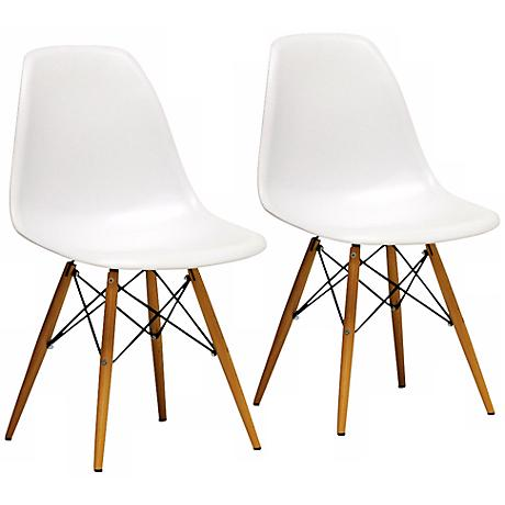 Set of 2 Azzo White Plastic Side Chairs