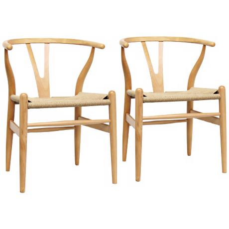 Set of 2 Wishbone Y Natural Wood Side Chairs