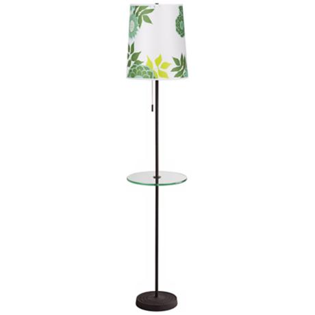 Lights Up! Zoe Anna Green Floor Lamp with Tray