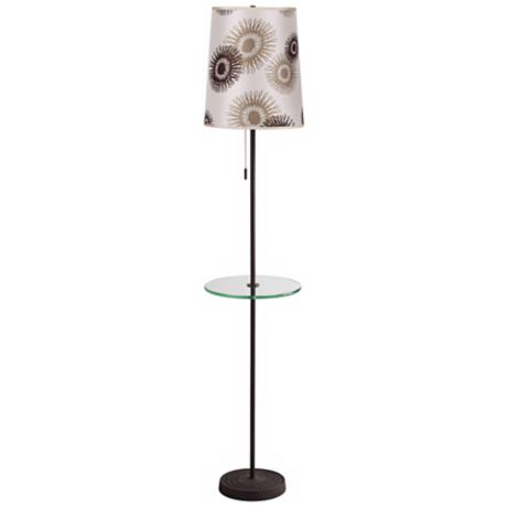 Lights Up! Zoe Tan Cornflower Floor Lamp with Tray